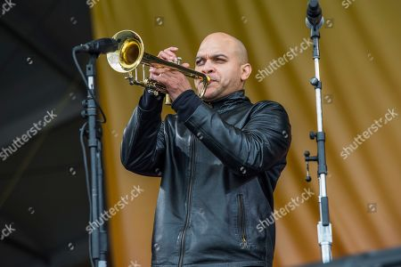 Stock Picture of Irvin Mayfield performs at the New Orleans Jazz and Heritage Festival, in New Orleans