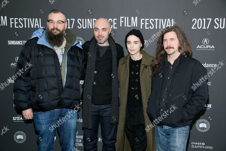 "From left to right, producer James M. Johnston, writer and director David Lowery, actress Rooney Mara, and producer Toby Halbrooks pose at the premiere of ""A Ghost Story"" during the 2017 Sundance Film Festival, in Park City, Utah"