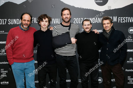 """From left to right, writer and director Luca Guadagnino, actor Timothee Chalamet, actor Armie Hammer, actor Michael Stuhlbarg, and editor Walter Fasano pose at the premiere of """"Call Me By Your Name"""" during the 2017 Sundance Film Festival, in Park City, Utah"""