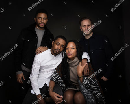 """Actor Nnamdi Asomugha, from left, Lakeith Stanfield, Natalie Paul and Writer/director Matt Ruskin pose for a portrait to promote the film, """"Crown Heights"""", at the Music Lodge during the Sundance Film Festival, in Park City, Utah"""