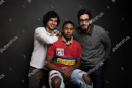 "Director Amman Abbasi, from left, actor Devin Blackmon and producer Alex Uhlmann pose for a portrait to promote the film, ""Dayveon,"" at the Music Lodge during the Sundance Film Festival, in Park City, Utah"