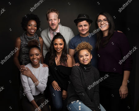 "Stock Picture of Actress Sasheer Zamata, from top left, David Sullivan, actor Arturo Castro, director Sydney Freeland, actress Ashleigh Murray, from bottom left, actress Danielle Nicolet and Rachel Crow pose for a portrait to promote the film, ""Deidra & Laney Rob a Train"", at the Music Lodge during the Sundance Film Festival, in Park City, Utah"