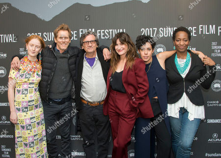 "From left, India Menuez, Kevin Bacon, Griffin Dunne, Kathryn Hahn, Roberta Colindrez, and Phoebe Robinson pose at the premiere of the film ""I Love Dick"" at the MARC Theatre during the 2017 Sundance Film Festival, in Park City, Utah"