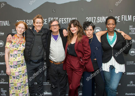 "India Menuez, from left, Kevin Bacon, Griffin Dunne, Kathryn Hahn, Roberta Colindrez, and Phoebe Robinson pose at the premiere of the film ""I Love Dick"" at the MARC Theatre during the 2017 Sundance Film Festival, in Park City, Utah"
