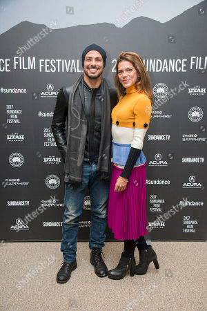 """Stock Image of Actor Caua Reymond, left, and model Mariana Goldfarb pose at the premiere of the film """"Marjorie Prime"""" at the Eccles Theatre during the 2017 Sundance Film Festival, in Park City, Utah"""