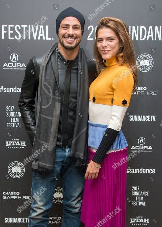 """Actor Caua Reymond, left, and model Mariana Goldfarb pose at the premiere of the film """"Marjorie Prime"""" at the Eccles Theatre during the 2017 Sundance Film Festival, in Park City, Utah"""