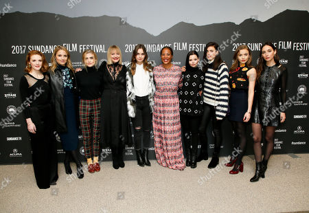 "Stock Picture of From left to right, actresses Ashley Bell, Dianna Agron, Maddie Hasson, Chelsea Lopez, Liana Liberato, director and writer Maggie Betts, Eline Powell, Margaret Qualley, Morgan Saylor and Rebecca Dayan pose at the premiere of ""Novitiate"" during the 2017 Sundance Film Festival, in Park City, Utah"