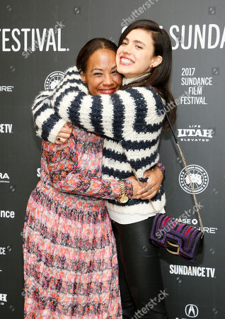 """Writer and director Maggie Betts, left, and Margaret Qualley, right, pose at the premiere of """"Novitiate"""" during the 2017 Sundance Film Festival, in Park City, Utah"""