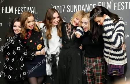 "From left to right, actresses Eline Powell, Morgan Saylor, Liana Liberato, Chelsea Lopez, Maddie Hasson and Margaret Qualley pose at the premiere of ""Novitiate"" during the 2017 Sundance Film Festival, in Park City, Utah"