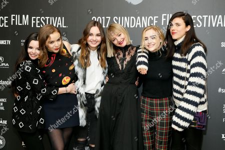 "Actresses Eline Powell, from left, Morgan Saylor, Liana Liberato, Chelsea Lopez, Maddie Hasson and Margaret Qualley pose at the premiere of ""Novitiate"" during the 2017 Sundance Film Festival, in Park City, Utah"