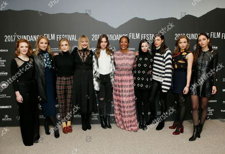 "From left to right, actresses Ashley Bell, Dianna Agron, Maddie Hasson, Chelsea Lopez, Liana Liberato, director and writer Maggie Betts, Eline Powell, Margaret Qualley, Morgan Saylor and Rebecca Dayan pose at the premiere of ""Novitiate"" during the 2017 Sundance Film Festival, in Park City, Utah"