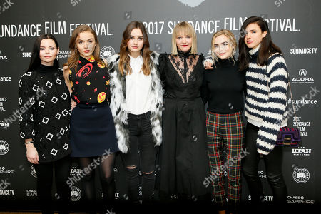 "Stock Photo of From left to right, actresses Eline Powell, Morgan Saylor, Liana Liberato, Chelsea Lopez, Maddie Hasson and Margaret Qualley pose at the premiere of ""Novitiate"" during the 2017 Sundance Film Festival, in Park City, Utah"
