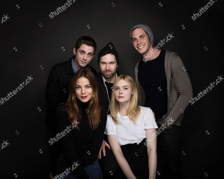 "Actor Logan Lerman, back row from left, writer/director Shawn Christensen, actor Blake Jenner, and front row from left, actress Michelle Monaghan, and actress Elle Fanning pose for a portrait to promote the film, ""Sidney Hall"", at the Music Lodge during the Sundance Film Festival, in Park City, Utah"