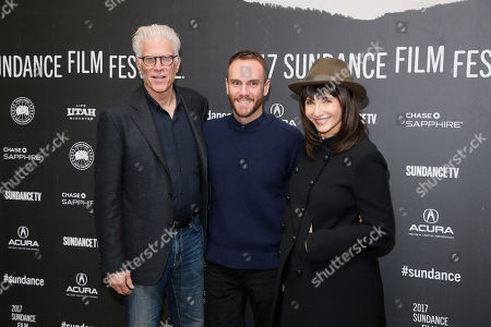 """Director and co-writer Charlie McDowell, center, poses with his mother actress Mary Steenburgen, right, and Ted Danson, left, at the premiere of """"The Discovery"""" during the 2017 Sundance Film Festival, in Park City, Utah"""