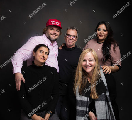 """Producers Jack Black, from left, David Permut, Shivani Rawat, Priyanka Mattoo, bottom left and Monica Levinson, bottom right pose for a portrait to promote the film, """"The Polka King"""", at the Music Lodge during the Sundance Film Festival, in Park City, Utah"""