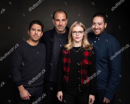 """Producer Michael Gasparro, from left, actor Nick Sandow, Executive producer Julia Willoughby Nason and Director Jenner Furst pose for a portrait to promote the series, """"TIME: The Kalief Browder Story"""", at the Music Lodge during the Sundance Film Festival, in Park City, Utah"""
