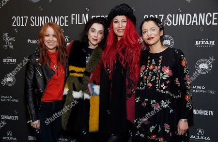 "XX"" directors, from left, Roxanne Benjamin, Annie Clark and Jovanka Vuckovic, and animator Sofia Carrillo pose together at the premiere of the film at the Library Center Theatre during the 2017 Sundance Film Festival, in Park City, Utah. The film is a horror anthology featuring four female directors"