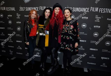 "Left to right, ""XX"" directors Roxanne Benjamin, Annie Clark and Jovanka Vuckovic, and animator Sofia Carrillo pose together at the premiere of the film at the Library Center Theatre during the 2017 Sundance Film Festival, in Park City, Utah. The film is a horror anthology featuring four female directors"