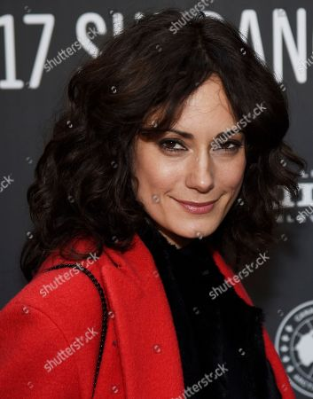 """Natalie Brown, a cast member in """"XX,"""" poses at the premiere of the film at the Library Center Theatre during the 2017 Sundance Film Festival, in Park City, Utah"""