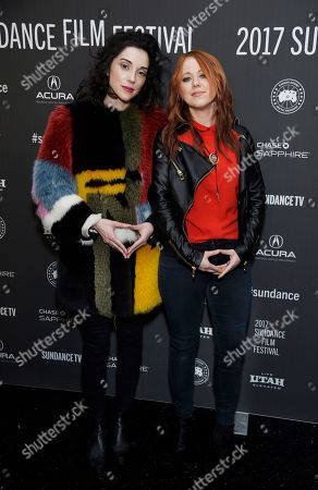 "Annie Clark, left, and Roxanne Benjamin, two of the directors of ""XX,"" pose together at the premiere of the film at the Library Center Theatre during the 2017 Sundance Film Festival, in Park City, Utah. The film is a horror anthology featuring four female directors"
