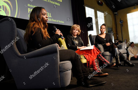 """Manchester by the Sea"""" producer Kimberly Steward, left, takes part in a panel discussion with Pat Mitchell, center, chair of the Sundance Institute Board of Trustees, and actress Kerry Washington at the Women at Sundance Brunch during the 2017 Sundance Film Festival, in Park City, Utah"""