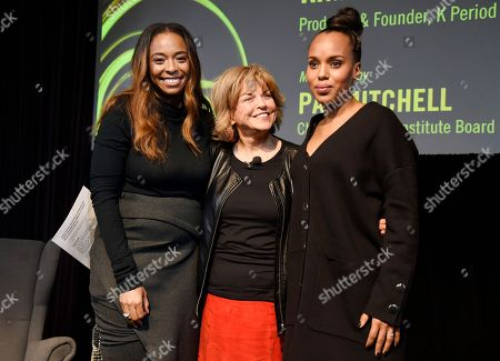 """Manchester by the Sea"""" producer Kimberly Steward, left, Pat Mitchell, center, chair of the Sundance Institute Board of Trustees, and actress Kerry Washington pose onstage at the Women at Sundance Brunch during the 2017 Sundance Film Festival, in Park City, Utah"""