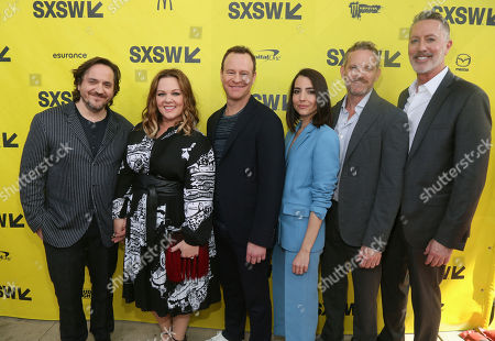 """Producers Ben Falcone, from left, Melissa McCarthy, cast members Larry Dorf, Rachel Ramras, Hugh Davidson and showrunner Michael McDonald arrive for the world premiere of """"Nobodies"""" at the ZACH Theatre during the South by Southwest Film Festival, in Austin, Texas"""