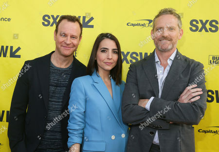 """Cast members Larry Dorf, from left, Rachel Ramras and Hugh Davidson arrive for the world premiere of """"Nobodies"""" at the ZACH Theatre during the South by Southwest Film Festival, in Austin, Texas"""
