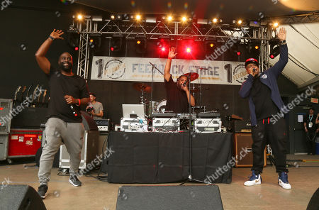 Stock Image of De La Soul's Kelvin Mercer, Vincent Mason and David Jude Jolicoeur, from left, perform at Rachel Ray's Feedback Party at Stubb's during the South by Southwest Music Festival, in Austin, Texas
