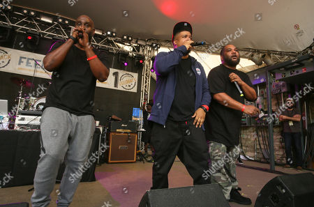 De La Soul's Kelvin Mercer, David Jude Jolicoeur and Vincent Mason, from left, perform at Rachel Ray's Feedback Party at Stubb's during the South by Southwest Music Festival, in Austin, Texas