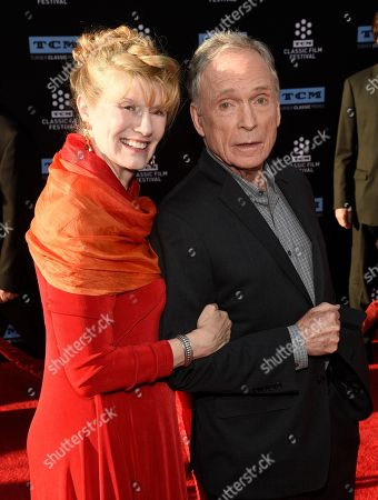 """Television personality Dick Cavett, left, and his wife Martha Rogers, Ph.D., pose together before a 50th anniversary screening of the 1967 film """"In the Heat of the Night"""" on the opening night of the 2017 TCM Classic Film Festival at the TCL Chinese Theatre, in Los Angeles"""