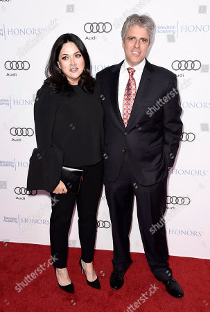Shana Goldberg-Meehan, left, and Scott Silveri arrives at the 2017 Television Academy Honors at the Montage Hotel, in Beverly Hills, Calif