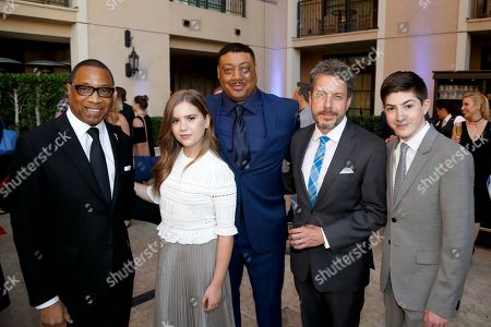 Television Academy Chairman & CEO, Hayma Washington, from left, Kyla Kenedy, Cedric Yarbrough, John Ross Bowie, and Mason Cook are seen at the 2017 Television Academy Honors at the Montage Hotel, in Beverly Hills, Calif