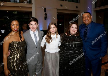 Susan Kelechi Watson, from left, Mason Cook, Kyla Kenedy, Chrissy Metz, and Cedric Yarbrough are seen at the 2017 Television Academy Honors at the Montage Hotel, in Beverly Hills, Calif