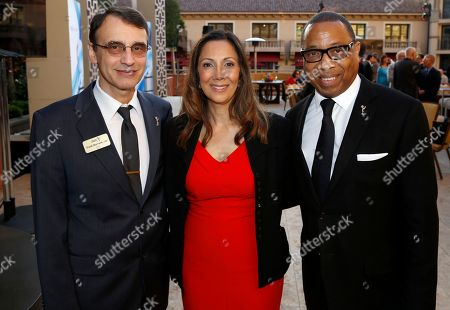 Frank Morrone, CAS Television Academy, from left, Lucia Gervino,Television Academy Honors Chair, and Television Academy Chairman & CEO, Hayma Washington are seen at the 2017 Television Academy Honors at the Montage Hotel, in Beverly Hills, Calif