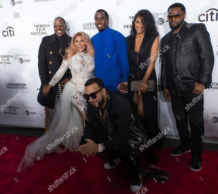 """Mase, from left, Lil Kim, French Montana, Sean Combs, Cassie Ventura and Carl Thomas attend the """"Can't Stop, Won't Stop: The Bad Boy Story"""" film premiere during the 2017 Tribeca Film Festival, in New York"""