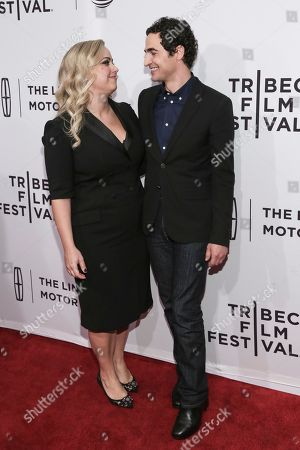 """Director Sandy Chronopoulos, left, and Fashion Designer Zac Posen attend a screening of """"House of Z"""" at the SVA Theatre during the 2017 Tribeca Film Festival,, in New York"""