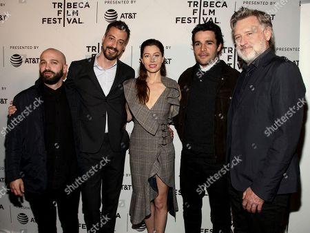 """Stock Photo of Antonio Campos, from left, Derek Simonds, Jessica Biel, Christopher Abbott and Bill Pullman attend the screening of """"The Sinner"""", during the 2017 Tribeca Film Festival, at SVA Theater, in New York"""