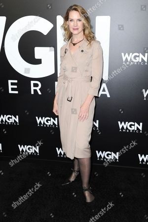 """Stock Picture of Francie Swift attends a photo call for WGN America's """"Outsiders"""" at the CTAM portion of the 2017 Winter Television Critics Association press tour, in Pasadena, Calif"""