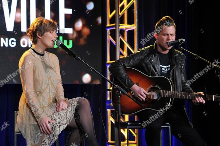 Claire Bowen and Brandon Robert Young perform at the Hulu portion of the 2017 Winter Television Critics Association press tour on in Pasadena, Calif
