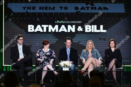 """Don Argott, from left, Sheena Joyce, Marc Tyler Nobleman, Athena Finger and Alethia Mariotta attend the """"Batman and Bill"""" panel at the Hulu portion of the 2017 Winter Television Critics Association press tour, in Pasadena, Calif"""