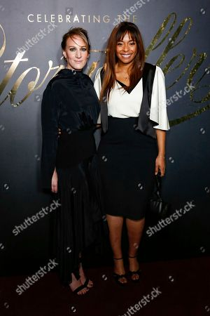 Kimberly Steward, right, and Lauren Beck arrive at the 2nd Annual EBONY Magazine and iTunes Movies Pre-Oscars Celebration at Delilah, in West Hollywood, Calif