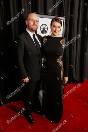 James Laxton, left, and Adele Romanski arrive at the 42nd Annual Los Angeles Film Critics Association Awards, in Los Angeles