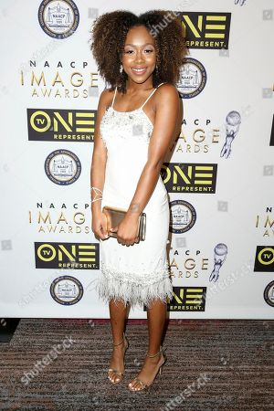 Emyri Crutchfield arrives at the 48th NAACP Image Awards Nominees' Luncheon at the Loews Hollywood Hotel, in Los Angeles