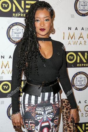 Jennia Fredrique arrives at the 48th NAACP Image Awards Nominees' Luncheon at the Loews Hollywood Hotel, in Los Angeles