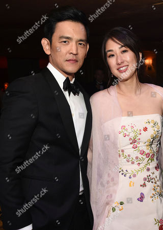 John Cho, left, and Kerri Higuchi attend the Governors Ball after the Oscars, at the Dolby Theatre in Los Angeles