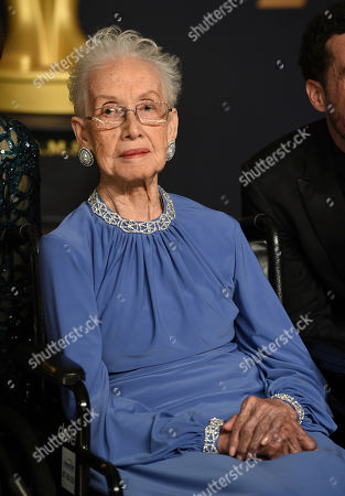 Katherine Johnson poses in the press room at the Oscars, at the Dolby Theatre in Los Angeles