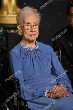 """Katherine Johnson, the inspiration for the film, """"Hidden Figures,"""" poses in the press room at the Oscars, at the Dolby Theatre in Los Angeles"""