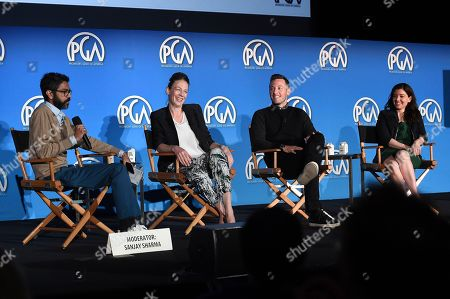 Matt Kaplan, Beatrice Springborn, Sanjay Sharma and Janet Brown attend the 9th annual Produced By Conference at Twentieth Century Fox on in Los Angeles