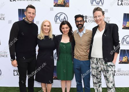From left, Matt Kaplan, PGA Associate National Executive Director Susan Sprung, Beatrice Springborn, Sanjay Sharma and Janet Brown attend the 9th annual Produced By Conference at Twentieth Century Fox on in Los Angeles